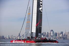 Artemis Racing on the water in November 2012 in Alameda, USA. (Picture © Sander van der Bor.)