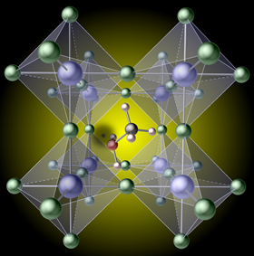 A hydrogen vacancy (the black spot left of center), created by removing hydrogen from a methylammonium molecule, traps carriers in the prototypical hybrid perovskite methylammonium lead iodide. Image: Xie Zhang.