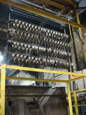 Paramount Metal Finishing employs eight large hoist-operated barrel/rack lines.