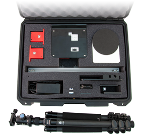 The RangeVision Spectrum package includes a scanner unit, a tripod, an automatic turntable, a case for easy transportation and storage, and unlimited software license with free updates.