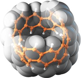 This image shows a carbon nanobelt, represented as both a ball-and stick model and a space-filing model. Carbon atoms are orange and gray, and hydrogen atoms are white. Image: ITbM, Nagoya University.