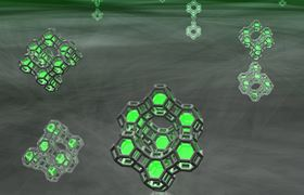 Artist's impression of small clusters of silver atoms (green spheres) trapped in zeolite cages. Credit: Dr Oliver Fenwick.