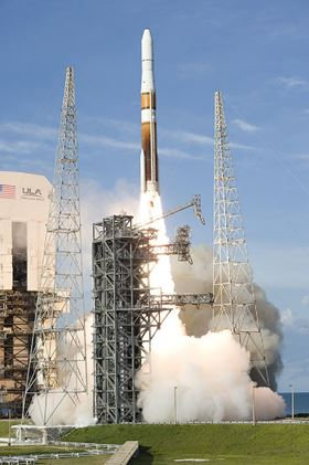 The Delta IV launch system in active use. Photo courtesy NASA /Tony Gray, Gina Mitchell.