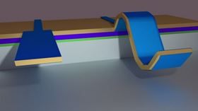 Image showing how the novel 'flexo-electric' material changes shape when an electric voltage is applied. Image: University of Twente.