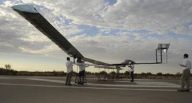 The Zephyr unmanned air system (UAS), designed and built by research and technology organisation QinetiQ, landed after being in the air for 14 days and 21 minutes, powered entirely by solar radiation.