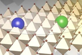 An artist's depiction of interacting electronic charges forming a strongly bound exciton trapped in an atomic-thick layer of hybrid perovskite. Image: Jean-Christophe Blancon/Los Alamos National Laboratory.