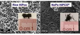 Microscope images of single walled carbon nanotubes: on the left, produced by the original Rice University HiPco method; on the right, produced by the new NoPo HiPco method. Image: Energy Safety Research Institute, Swansea University.
