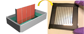 A new dipping process using a sulfolane additive creates high-performing perovskite solar cells. This process is inexpensive and well-suited for scaling up to commercial production. Image: Los Alamos National Laboratory.