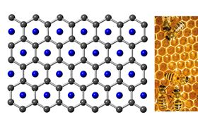 This shows the honeycomb-like structure of lithium osmium oxide. Image: Oregon State University.