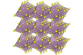 This molecular diagram shows the structure of molybdenum sulfide, one of the materials used to create the new kind of cathode for lithium-sulfur batteries. Image courtesy of the researchers.