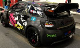 Petter Solberg's Citroën DS3 rallycross car has 11 composite body parts supplied by Galway Carbon. They  reduced the original 1200 kg weight of the car by over 56 kg.