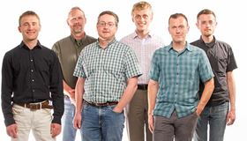 NREL's HTEM database group (left to right): Andriy Zakutayev, Robert White, John Perkins, Marcus Schwarting, Caleb Phillips and Nick Wunder. Photo: Dennis Schroeder/NREL.