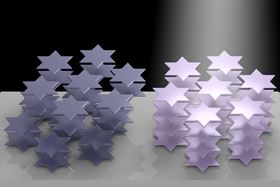 Atoms in the crystal lattice of tantalum disulfide arrange themselves into six-pointed stars that can be manipulated by light, offering a way to control the material's refractive index. Image: Weijian Li/Rice University.