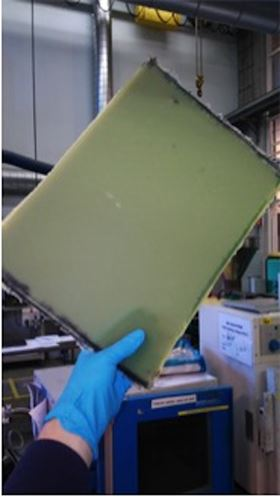 Self-healing glass fiber reinforced composite after production.