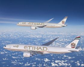 The 787-9 Dreamliner and 777 Freighter in Etihad livery.