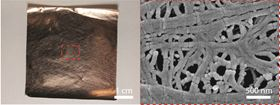 (Left) Image of copper-coated nanoporous polyethylene, the low emissivity layer. (Right) Scanning electron microscope image of copper coating shows that the surface is optically smooth for mid-infrared.