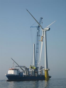 Picture of offshore wind turbine. (Picture used under license from Shutterstock.com © Yobidaba.)