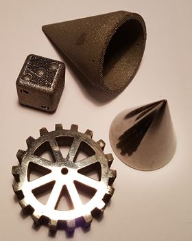 Sample parts made using Exmet AB's additive manufacturing based technology.