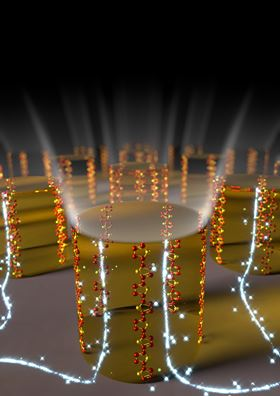 This image shows the vertically aligned chains in the organic semiconducting polymer. Image: Umeå University.