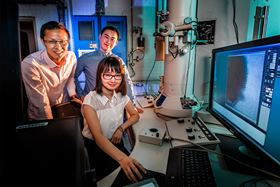 Qian Chen (seated), and graduate students Binbin Luo (left) and Zihao Ou (right), collaborated with researchers at Northwestern University to observe and simulate the formation of crystalline materials at a much higher resolution than ever before. Photo: Fred Zwicky.