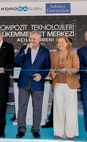 Binali Yildirim and Güler Sabanci at the opening ceremony.