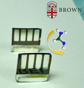 An international team of researchers has used a gas to convert one of type of perovskite crystal into an alternative type that is a better light absorber and boasts greater thermal stability. Photo: Padture Lab/Brown University.