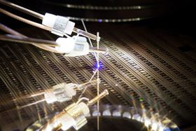 LEDs under test in the probe station. Photograph by Steve Penney.