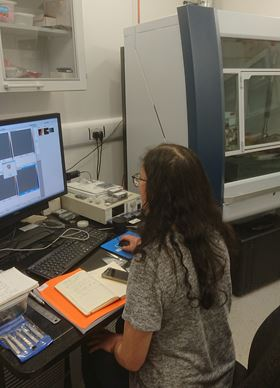 Masters student Adina Wineman working on the atomic force microscope.