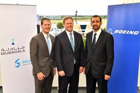 From left: Roger Kearns, member of the executive committee, Solvay, Kent Fisher, vice president and general manager supplier management, Boeing Commercial Airplanes, Homaid Al Shimmari, CEO of aerospace and engineering services at Mubadala.