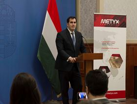 Ugur Üstünel, co-director of Metyx Group, speaking at a press conference in Budapest.