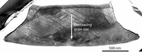 A cross-section composite image of a silver microcube impacted on its side shows decreasing grain size closer to where the deformed cube hit the target. Rice University scientists believe their research will lead to better materials for high-impact applications. (Credit: Thomas Group/Rice University.)