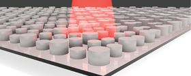 This illustration shows a dielectric metamaterial with infrared light shining on it. Image: Willie Padilla, Duke University.