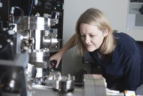 Professor Julie Cairney at work on the atom probe microscope.