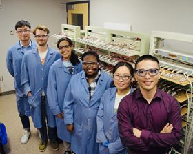 Feng Lin (far right) stands with group members at Virginia Tech who worked on the paper: (left to right) Zhengrui Xu, David Kautz, Stephanie Spence, Crystal Waters and Linqin Mu. Photo: Virginia Tech.