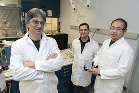 Peter Khalifah (left) with his students Gerard Mattei (center) and Zhuo Li (right) at one of Brookhaven's chemistry labs. Photo: Brookhaven National Laboratory.