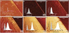 Atomic force microscopy imaging of 2D GaPO4 and piezoelectric measurements at varying applied voltages. Photo credit: FLEET