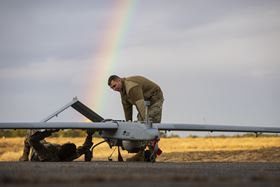 Army researchers are studying new polymer composites for use in unmanned vehicle systems, such as the RQ-7B Shadow shown here, because the composites are lightweight, less susceptible to corrosion and have higher electrical conductivity than traditional elastomers. Photo: Master Sgt. Matt Hecht.