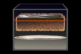 An illustration of a new type of molten-electrode battery with a metal mesh membrane, developed by a team led by researchers at MIT. Illustration modified from an original image by Felice Frankel.