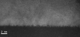 Atomic resolution scanning transmission electron microscopy image of cubic GaN. Image recorded by Lok Yi Lee and Petr Vacek.