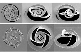 Different patterns of slices through a thin metal foil are made by a focused ion beam. These patterns cause the metal to fold up into predetermined shapes, which can be used for such purposes as modifying a beam of light. Image courtesy of the researchers.
