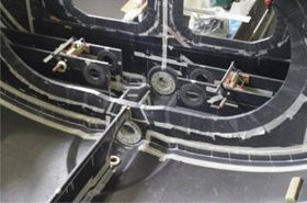 Major transverse and longitudinal stiffening were needed in the keel area. Note the canting keel pivots incorporated into the adjacent bulkheads. (Picture courtesy of Killian Bushe and Andrew Lowe.)