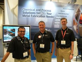 All smiles. Chemetall's Suresh Patel (left), David Gotoff (center), and Gary Nelson.