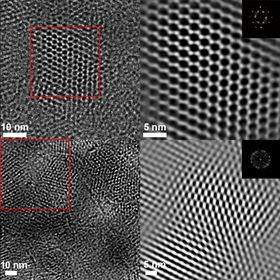These high-resolution transmission electron microscopy images, produced at Berkeley Lab's Molecular Foundry, show a sheet of covalent organic frameworks (COFs) at the nanoscale (top row) and a sheet of chemically modified COFs (bottom row). Image: Berkeley Lab.