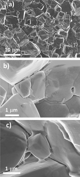 SEM images of LiF heated by SPS to 500 °C at 2 MPa. (a) Melting of the particle corners, (b) surfaces wetted by a flowing liquid and (c) the material jet formed by the spark impact are visible.