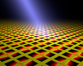 """Artist's conception of the metamaterial array – the power absorption in the lithium niobate pyroelectric element is shown"" (credit: Kebin Fan)"