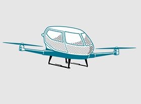 Design of air taxi (anonymized) with landing gear made of carbon fiber based composites.