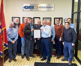 Members of the GKN Hoeganaes team with the carbon reduction award.