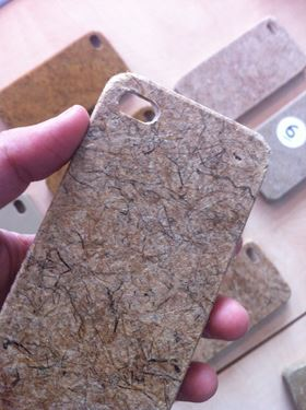 Bio-plastic material variations in mobile phone covers created for an empirical study.