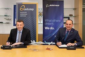 Quickstep CEO Mark Burgess (left) and Boeing Defence Australia VP Scott Carpendale signing the asset purchase agreement.