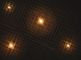 This illustration shows polarons  fleeting distortions in a material's atomic lattice  in a lead hybrid perovskite. Scientists at SLAC and Stanford observed for the first time how these 'bubbles' of distortion form around charge carriers  electrons and holes that have been liberated by pulses of light (shown in the illustration as bright spots). Image: Greg Stewart/SLAC National Accelerator Laboratory.